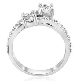 2ct Diamond Forever Us 2 Stone Solitaire Engagement Ring Wedding Set White Gold (H/I, I1-I2)