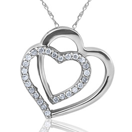 "1/4ct Diamond Heart Shape Pendant 10K White Gold 3/4"" Tall (H-I, I2)"