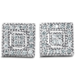1/3ct Diamond Stud Earrings White Gold 14K (I, I2)