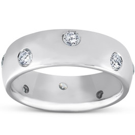 1/2ct Bezel Diamond Eternity Wedding 14K White Gold New Ring (G/H, SI)