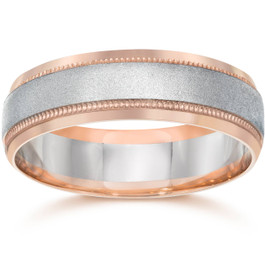 Mens Two Tone 14K Rose Gold Wedding Band