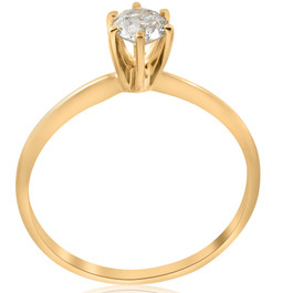 14k Yellow Gold 1/2ct Round Solitaire Diamond Engagement Ring (G/H, I1)