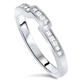 3/8ct Princess Cut Curved Diamond Ring 14k White Gold (H/I, I1-I2)