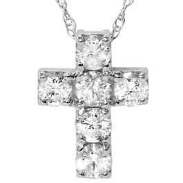 "1ct Diamond Cross Pendant 14K White Gold 1/2"" Tall (G, I2)"