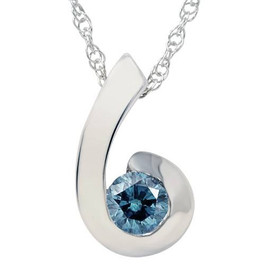 1/4ct Blue Diamond Solitaire Pendant 14K White Gold (G/H, I1)
