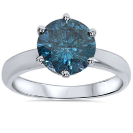 2ct Blue Diamond Solitaire Engagement Ring 14K White Gold (Blue, I1-I2)