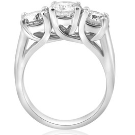 3ct Three Stone Diamond Engagement Ring 14K White Gold (G/H, I1)