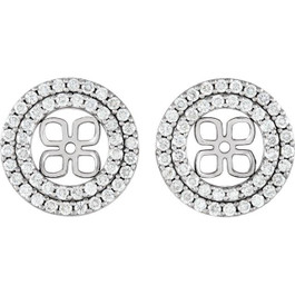 7/8Ct Double Halo Diamond Earring Jackets 14K White Gold For 8mm Pearls (H-I, I1)