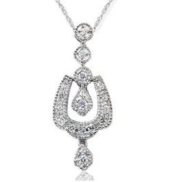 1/3ct Vintage Diamond Dangle Pendant 14K White Gold (G/H, I2)