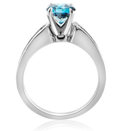 1 1/2 ct Blue Diamond Engagement Ring 14K White Gold Channel Set (G/H, SI2-I1)