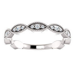 1/5ct Diamond Wedding Ring Womens Stackable Anniversary Ring 14k White Gold