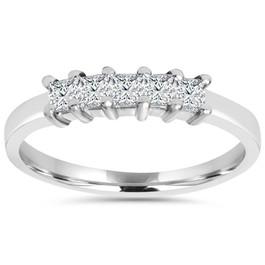 1/2ct Princess Cut Diamond 14K White Gold Wedding Ring (G/H, I2)