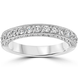1 1/6ct Diamond Vintage Heirloom Wedding Ring 14K White Gold (H/I, I1-I2)