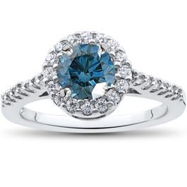 1 1/2 ct Blue Diamond Halo Engagement Ring 14K White Gold (G/H, I1)