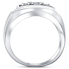 3/4ct Diamond Mens 14K White Gold Wedding Ring (H, I1)