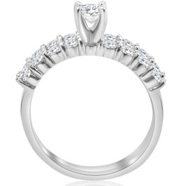 1 1/3 ct TDW Diamond Engagement Ring Wedding Set 14k White Gold (I/J, I2-I3)