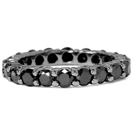 2 CT Black Diamond Eternity Ring 10K Black Gold (Black, )