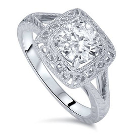 1 1/15ct Vintage Solitaire Diamond Engraved Engagement Ring 14K White Gold (G/H, SI3)