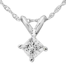 5/8ct Princess Cut Solitaire Diamond Pendant 14K White Gold (G/H, SI3/I1)