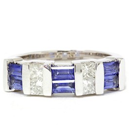 1 1/2ct Princess Cut Diamond & Blue Sapphire 14K White Gold Ring (G/H, I1)
