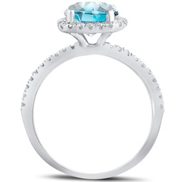 1 3/4 ct Blue Diamond Cushion Halo Engagement Ring 14k White Gold (G/H, I1)