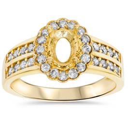 3/8ct Oval Shape Diamond Gold Engagement Ring Setting (I/J, I1)