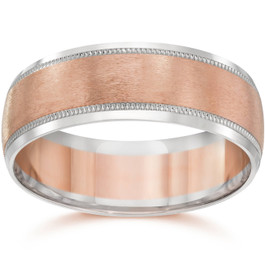 8MM Mens Two Tone 14K Rose Gold Wedding Band