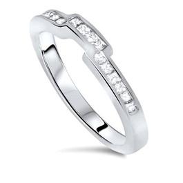 7/8ct Princess Cut Channel Set Diamond Wedding Engagement Ring 14K White Gold (H, I2)