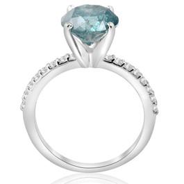 3 1/5ct Blue Diamond Engagement Ring 14k White Gold (G/H, I1)