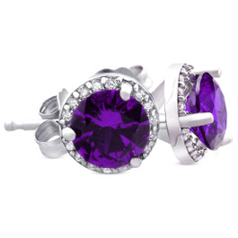 5/8ct Amethyst & Diamond Halo Studs 14K White Gold (F, VS)
