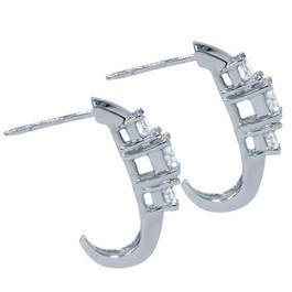 1ct Three Stone Diamond White Gold Earrings 14K (G/H, I1)