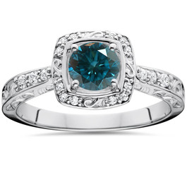 .90CT Blue Diamond Halo Sculptural Engagement Ring 14K White Gold (H/I, I1-I2)