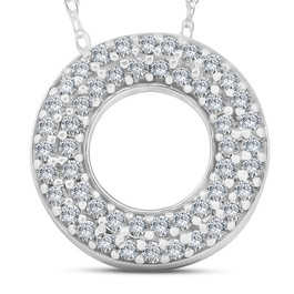 1/4ct Circle Of Life Puff Diamond Eternity Pave Pendant 14k White Gold (H/I, I1-I2)