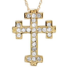 "1/2ct Diamond Cross Pendant 14K Yellow Gold 3/4"" Tall (G/H, I1-I2)"