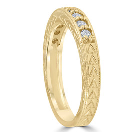 1/4ct Hand Engraved 14k Yellow Gold Diamond Wedding Ring (G/H, I1)
