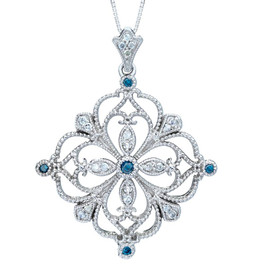 1/2ct Blue & White Diamond Filigree Vintage Diamond Pendant 14K White Gold (G/H, I1)