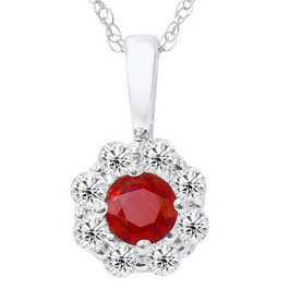 1ct Ruby Diamond Halo Pendant 14K White Gold (G/H, I1)