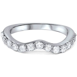 1/2ct Curved Diamond Notched Wedding Ring Enhancer 14K White Gold (G/H, I1-I2)
