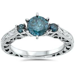 1 1/10ct Blue Diamond Vintage Hand Engraved Engagement Ring 14K White Gold (Blue, I1-I2)
