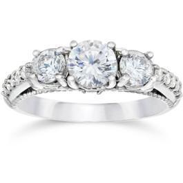 1 1/5ct Vintage Heirloom Diamond Engagement Ring 14K White Gold (G/H, I1)