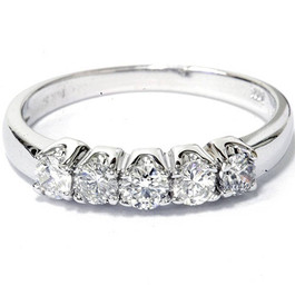 1/2ct Round Diamond Wedding Anniversary White Gold Ring (G/H, I2)