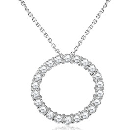 5ct Diamond Circle Pendant 14K White Gold (G-H, SI)