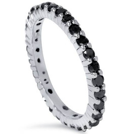 1 1/2ct Black Diamond Eternity Ring 14K White Gold (Black, )
