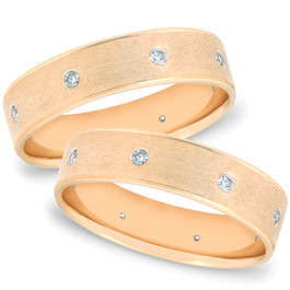 Gold 2ct Comfort Brushed Diamond Wedding Ring Set (G/H, SI)