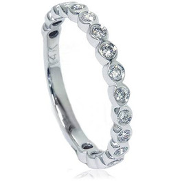 1/2ct Bezel Stackable Diamond Ring 14K White Gold (G/H, I1)
