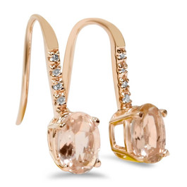 "1 1/5Ct Genuine Morganite & Diamond Drop Earrings 14K Rose Gold 3/4"" Tall (I-J, I2-I3)"