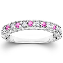 1/2ct Pink Topaz & Diamond Vintage Wedding Ring 14K White Gold (G/H, I1)