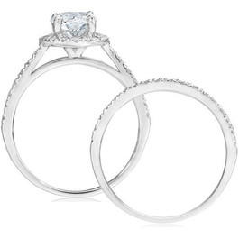1ct Round Diamond Halo Engagement Ring Set 14K White Gold (G/H, SI2-I1)