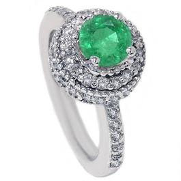 1 1/10ct Emerald Diamond Vintage Ring 14K White Gold (G/H, I1)