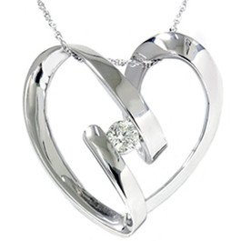 1/4ct Heart Shaped Diamond Pendant 14K White Gold (G/H, SI)
